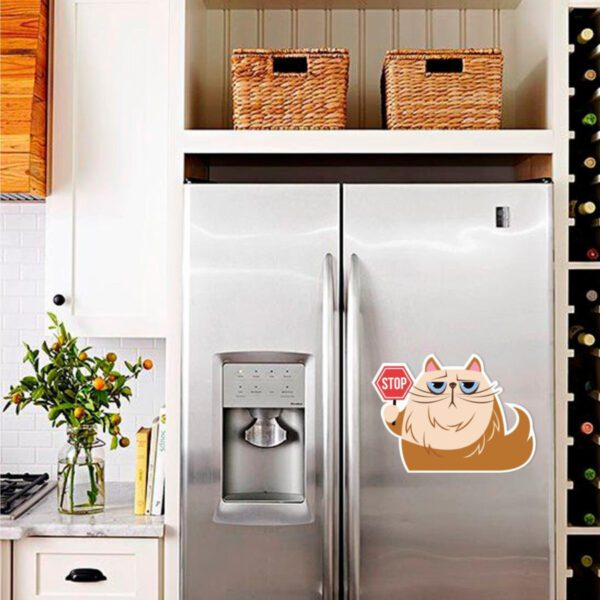 Наклейка на холодильник Cat stop